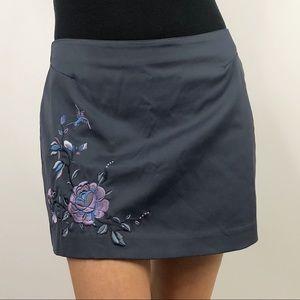 Express Vintage 90s Rose Embroidered Mini Skirt